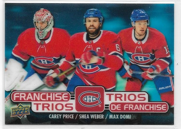 Price Weber Domi 2020-21 Tim Hortons Franchise Trios card T-15 Montreal