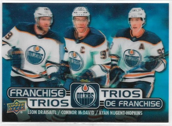 McDavid Draisaitl R Nugent-Hopkins 2020-21 Tim Hortons Franchise Trios card T-1 Oilers