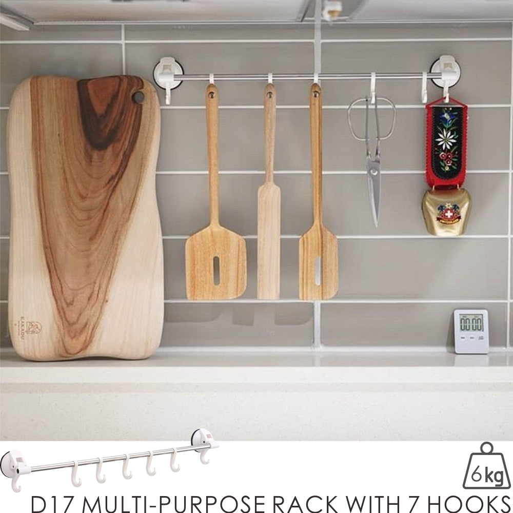 D17 MULTI-PURPOSE RACK WITH 7 HOOKS -WHITE