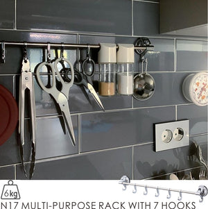 N17 MULTI-PURPOSE RACK WITH 7 HOOKS -SILVER