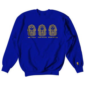 W.A.P See Speak Hear No Evil Crewneck - Blue/Gold