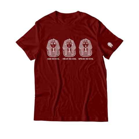 W.A.P See Speak Hear No Evil T-Shirt - Maroon