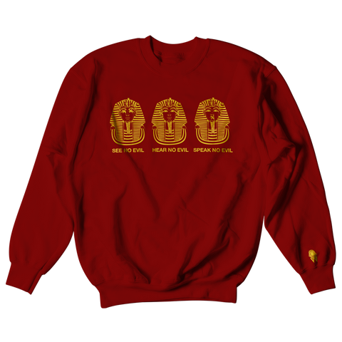W.A.P See Speak Hear No Evil Crewneck - Maroon/Gold