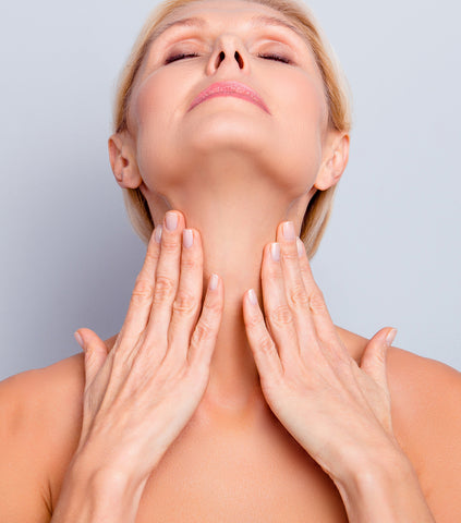 Signs of aging also show below the chin
