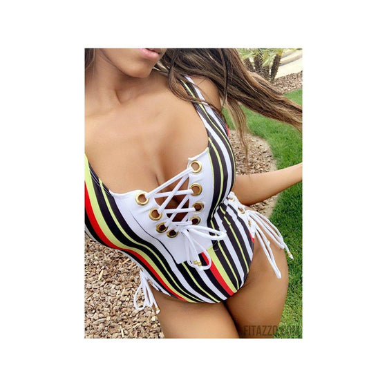 Striped Swimsuit-Fitazzo