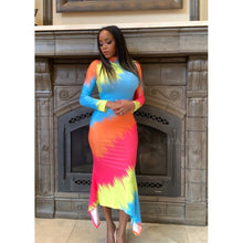 Long sleeve colorful dress-Dress-Fitazzo