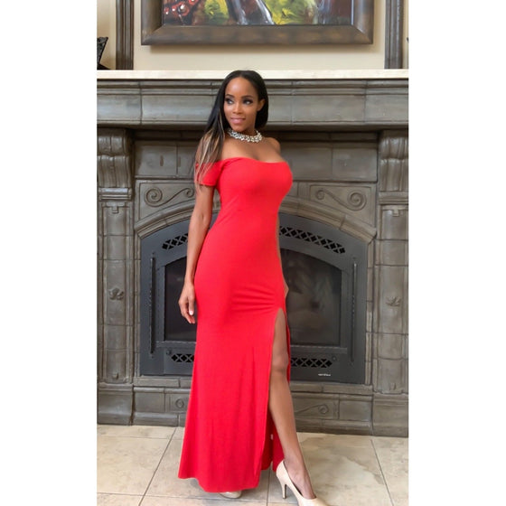 Red Off Shoulder Evening Dress-Dress-Fitazzo