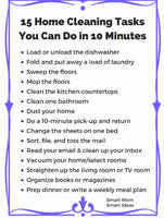 10-Minute Home Cleaning Tasks Cheat Sheet