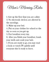 Mom's Morning Rules ~ Morning Routine for Kids