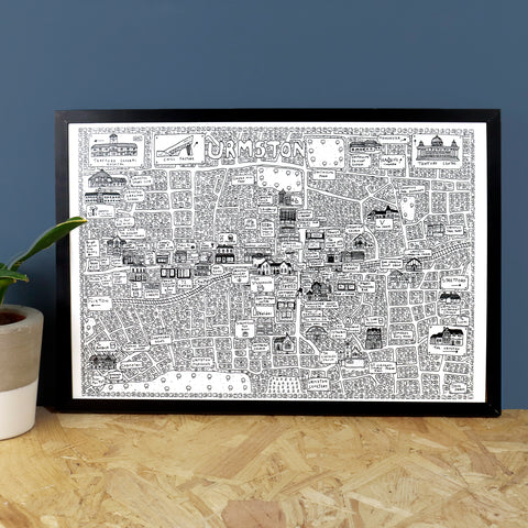 Urmston Doodle Map Print by Dave Draws