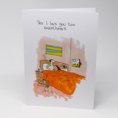 Manchester Derby Just Married Greetings Card by Tony Husband