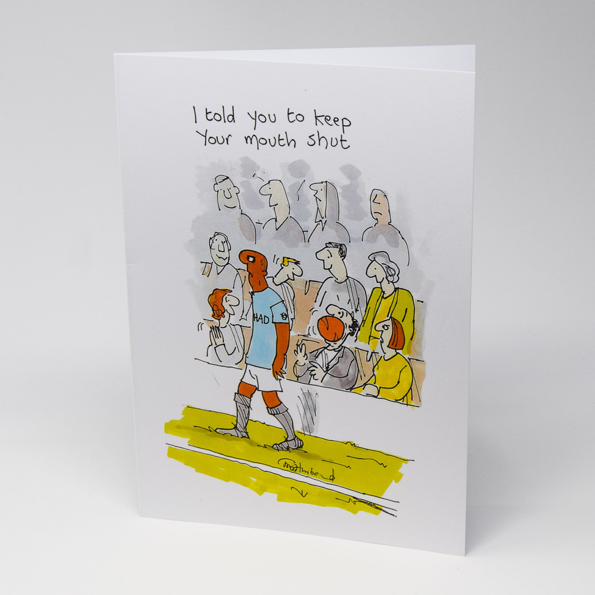 Ball in Mouth Greetings Card by Tony Husband