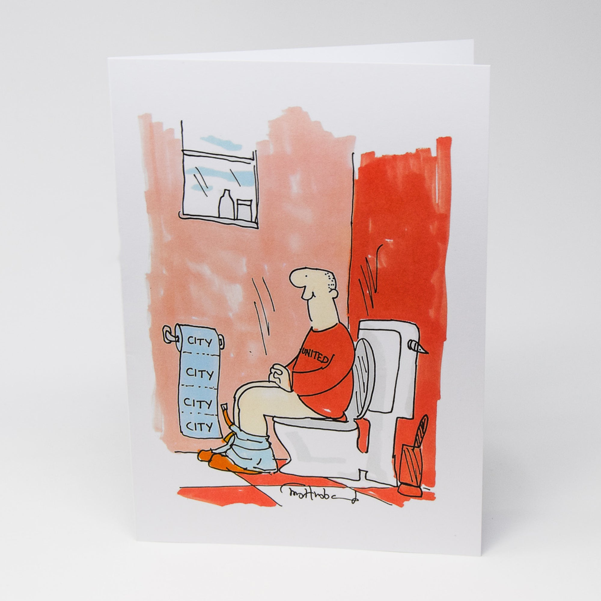 Manchester City Toilet Paper Greetings Card by Tony Husband