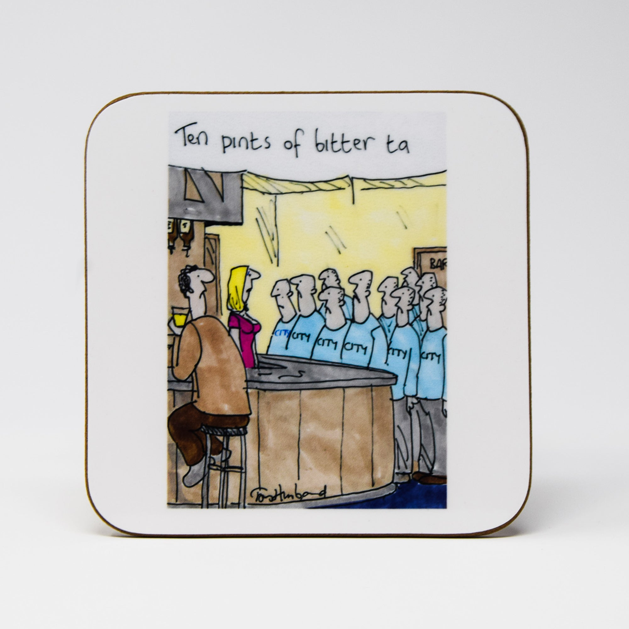 Ten Pints of Bitter Coaster by Tony Husband