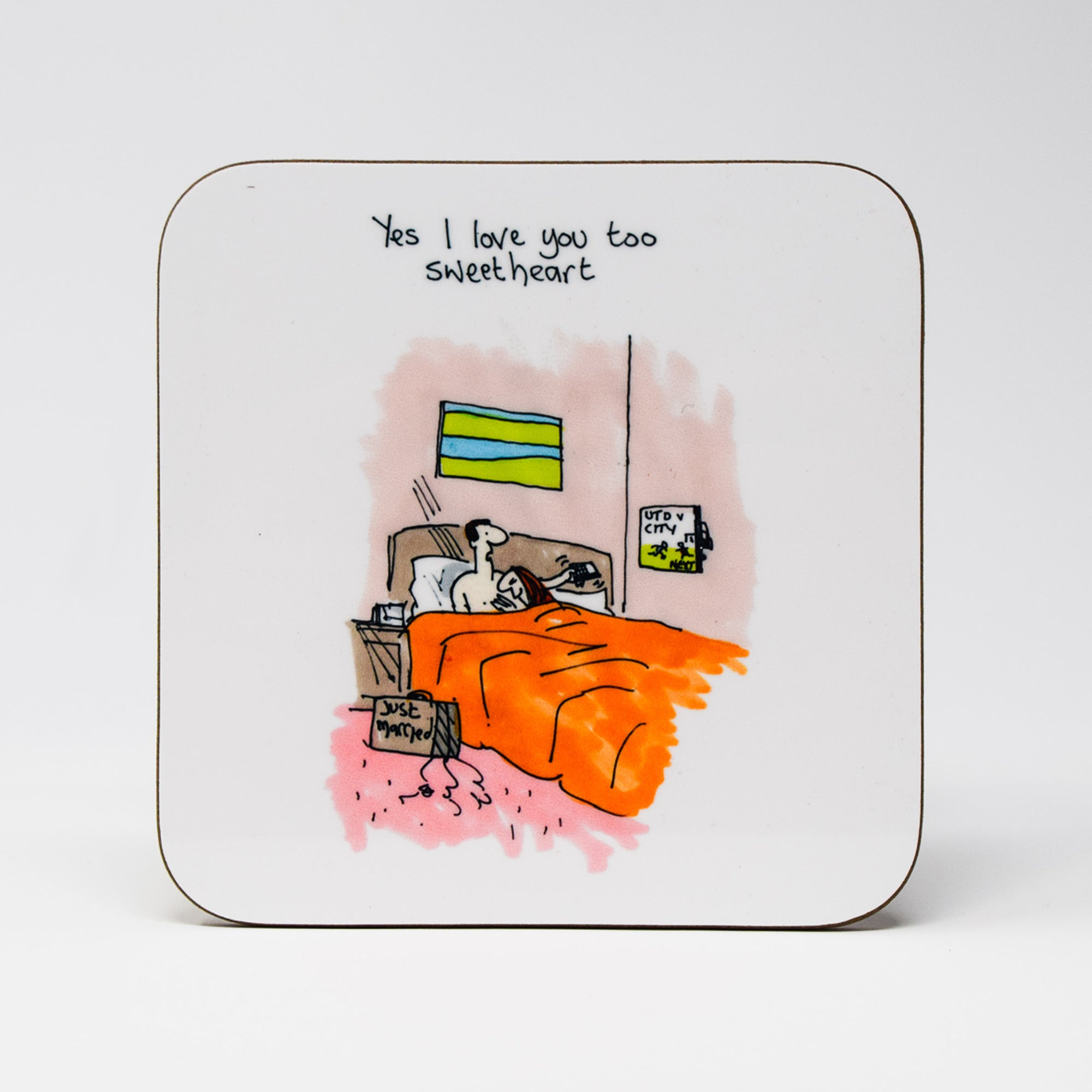 Manchester Derby Just Married Coaster by Tony Husband