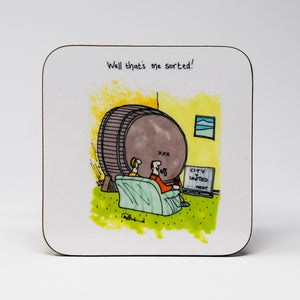 Manchester Derby Day Beer Coaster by Tony Husband