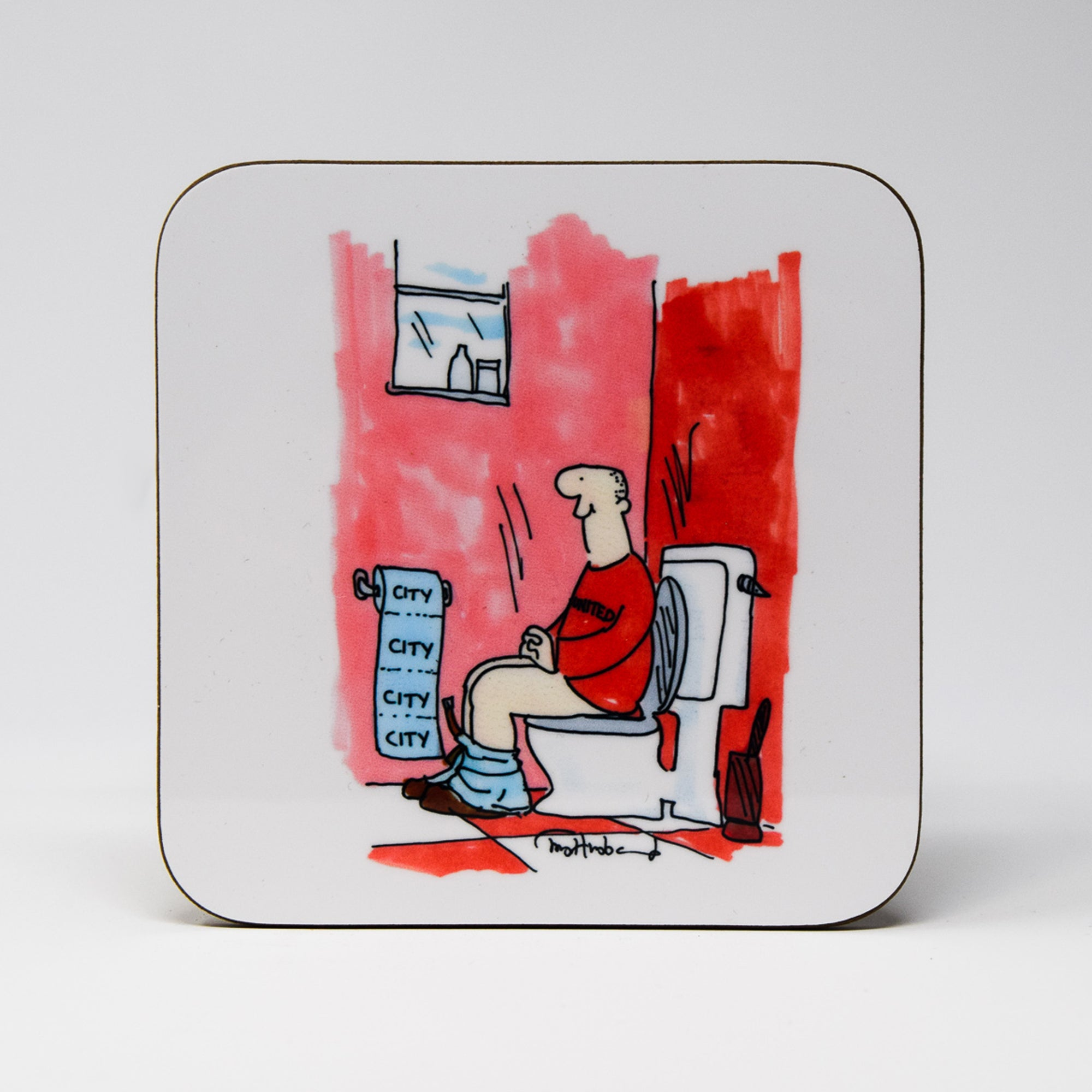 Manchester City Toilet Paper Coaster by Tony Husband
