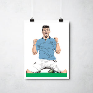 Sergio Aguero  print by Ray Lancaster