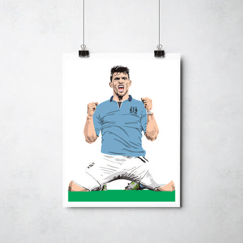 Sergio Aguero  print by This Charming Manc