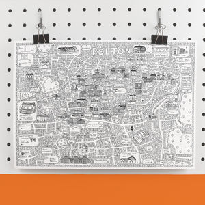 Bolton Doodle Map Print by Dave Draws