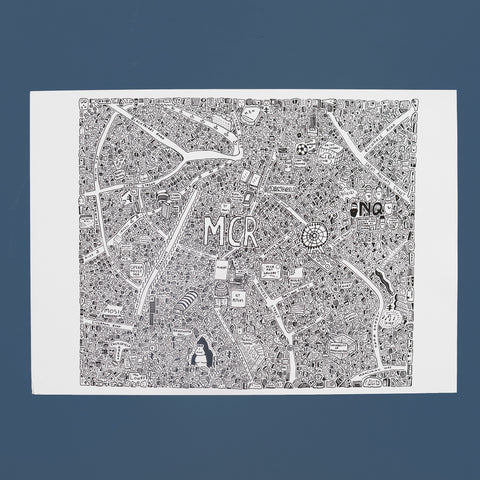 Manchester Doodle Map by Dave Draws