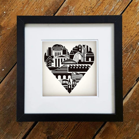 Manchester Heart Illustration Framed Print by S L Scott