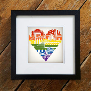 Manchester Rainbow Heart Framed Print by S L Scott