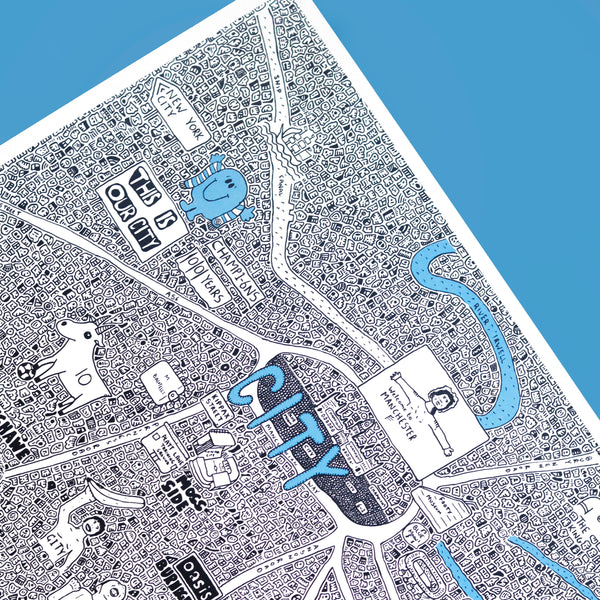 Manchester City Doodle Map by Dave Draws