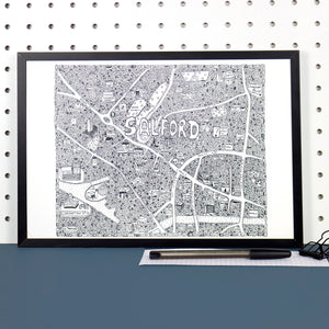 Salford Doodle Map by Dave Draws