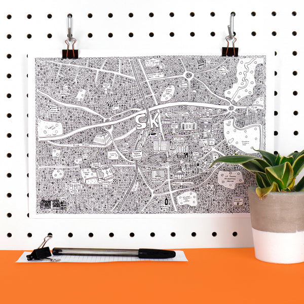 Stockport Doodle Map by Dave Draws
