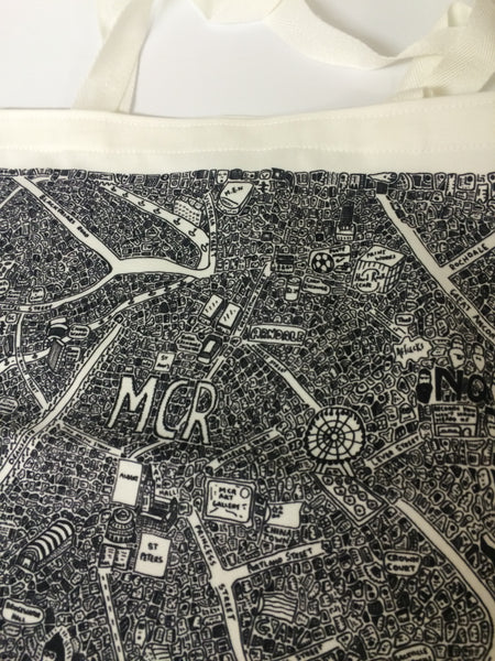 Manchester Doodle Map Tote Bag by Dave Draws