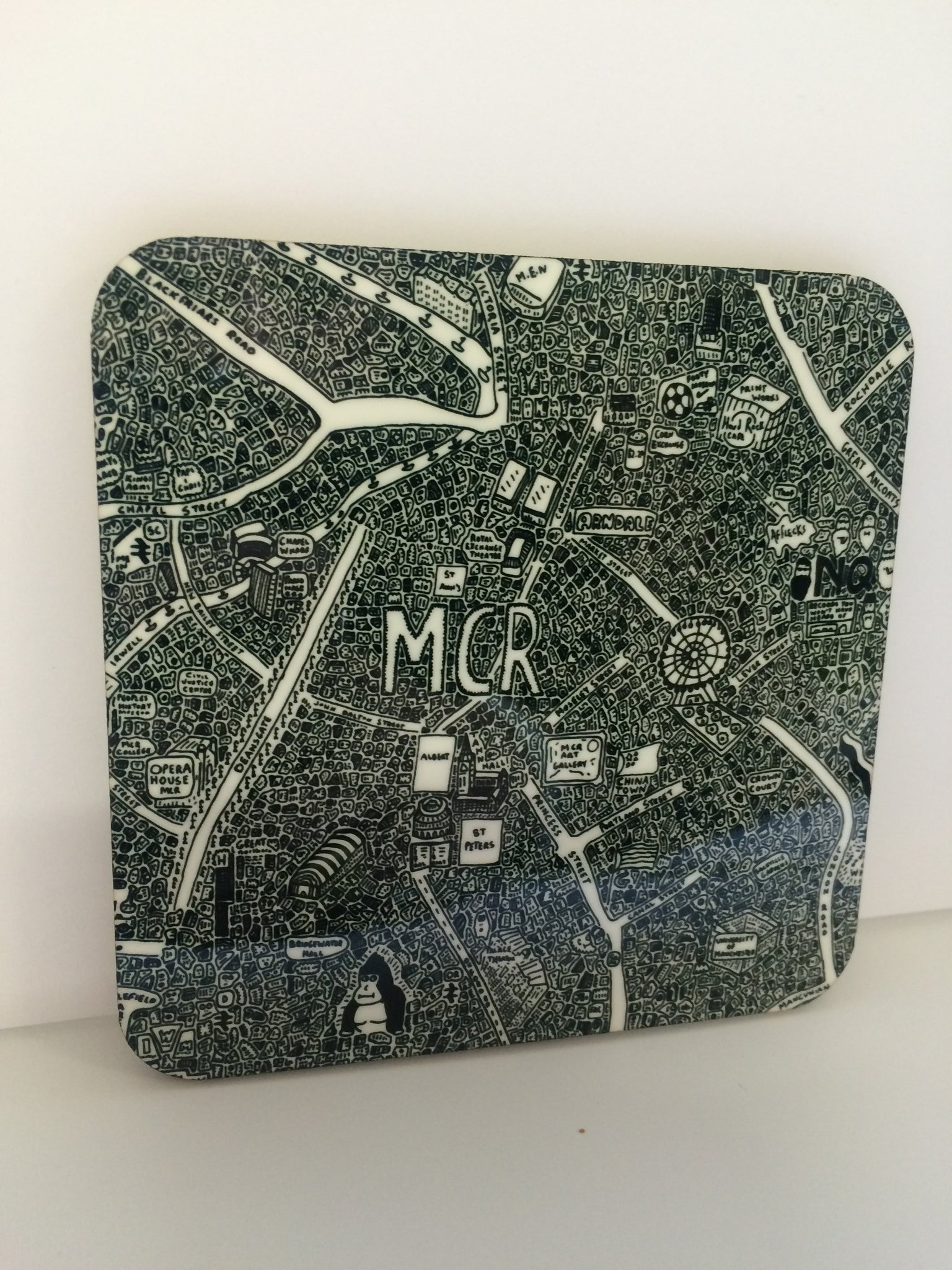 Manchester Doodle Map Coaster by Dave Draws