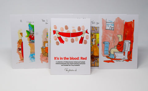 It's In The Blood Postcard Set - MUFC by Tony Husband
