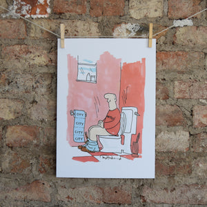Manchester City Toilet Paper Print by Tony Husband