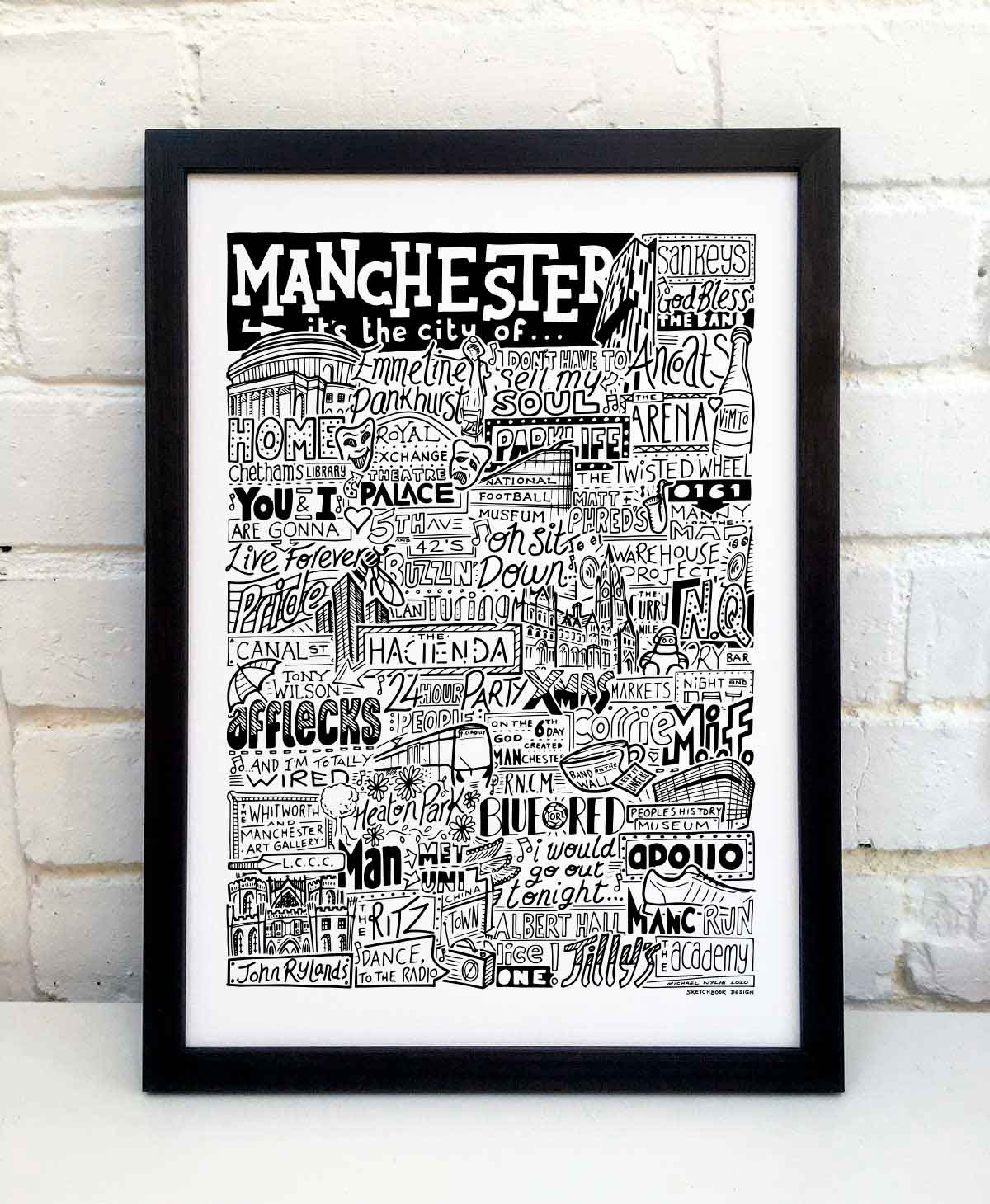 Manchester Landmarks Print by Sketchbook Design
