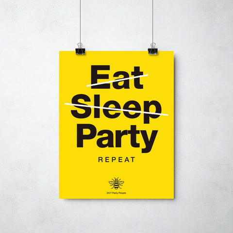 Eat Sleep Party print by ThisCharmingManc.com