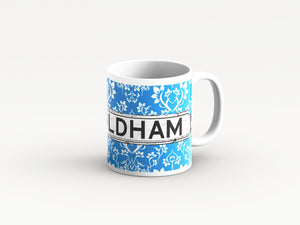 Blue Damask design district mugs by Tinned Snail