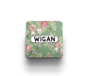 Green Flowers print district coaster by Tinned Snail