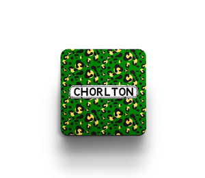 Green Leopard print district coaster by Tinned Snail