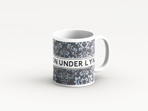 Grey Damask design district mugs by Tinned Snail