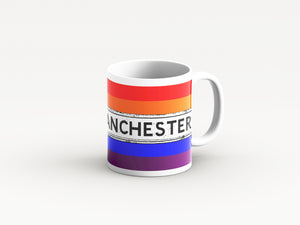 Rainbow design Manchester mugs by Tinned Snail