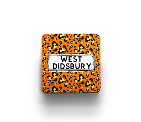 Orange Leopard print district coaster by Tinned Snail