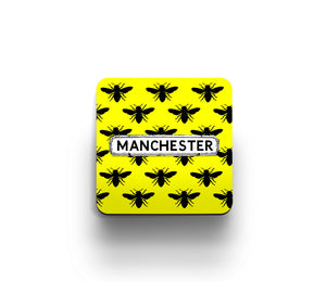 Yellow Bee print coaster by Tinned Snail
