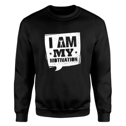 TeesBlitz 328 - Felpa girocollo/cappuccio stampa divertente - I am my Motivation
