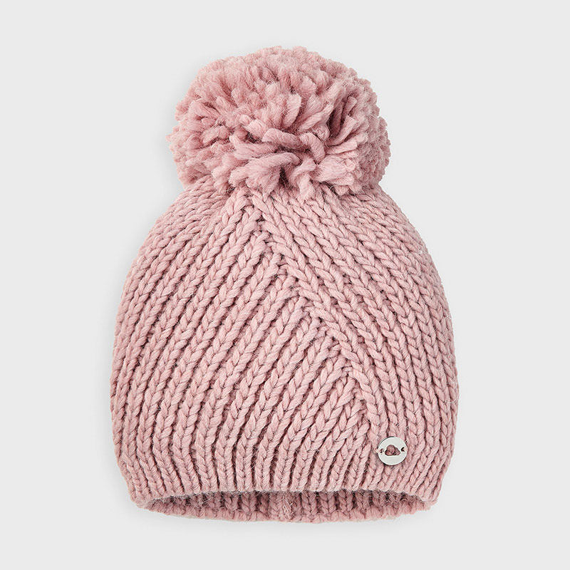 Mayoral Blush Pom Pom Hat