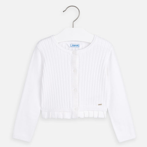 Mayoral White Ribbed Cardigan