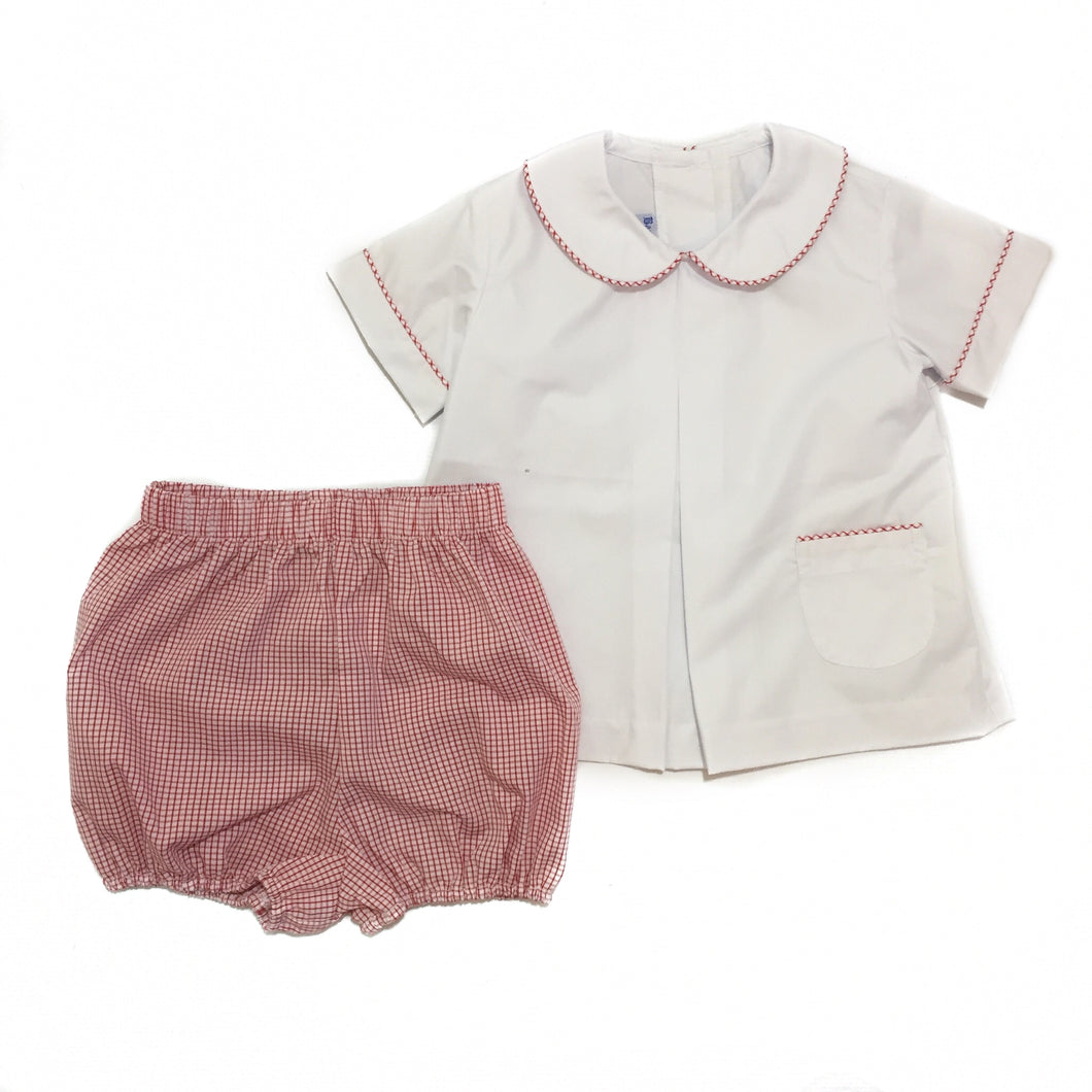 White & Red Boy Pleat Front Bloomer Set
