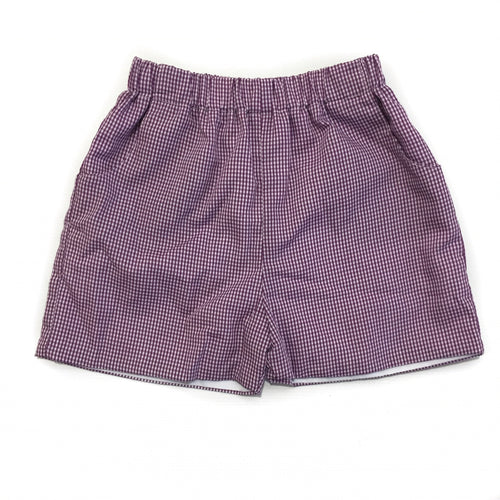 Banbury Elastic Short Purple Gingham