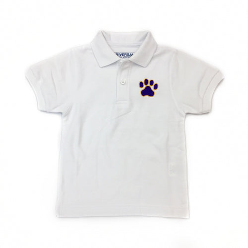 White Gameday Polo with Purple Paw
