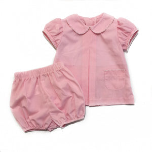 Girl Pleat Front Bloomer Set Light Pink Gingham